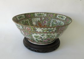 Antique Chinese Rose Medallion Punch Bowl, 14.75 Inch