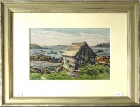 William Lester Stevens Watercolor New England Coastal
