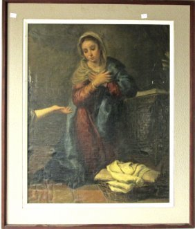 19th Century Madonna Oil On Canvas Laid Down To