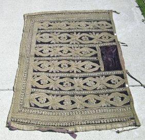 Antique Indian Elephant Brocaded Fabric With Metallic