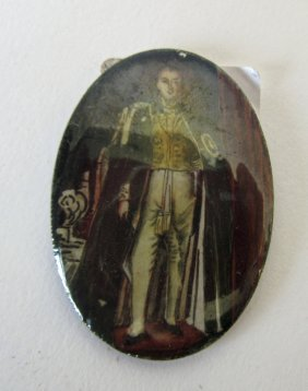 Indian Enamel Painting On Silver Of Royalty, 1.5 By 1