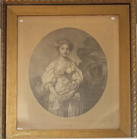J. B. Greuse Lithograph Portrait Of A Lady, Marked.