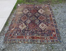 Antique Shiraz Oriental Area Rug, 85 By 64 Inches.
