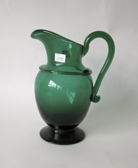 Hand Blown Green Glass Pitcher, 9 Inches Tall.