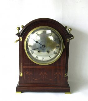 Inlaid Mahogany Brass Bound Shelf Clock, 17 Inches