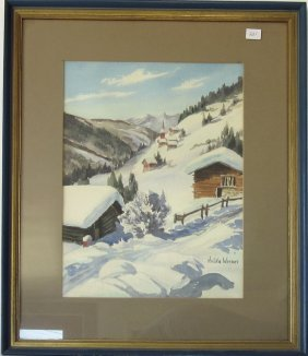 Hulda Verner Watercolor New England Winter Scene, 14 By