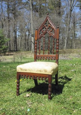 Antique Gothic Style Victorian Slipper Chair.