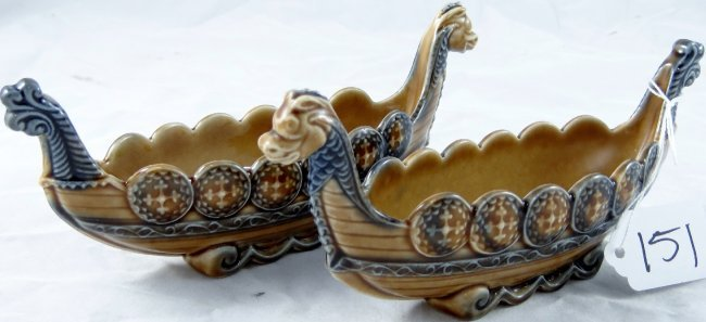 Wade Pottery Porcelain: 151: (2) Wade Porcelain Viking Ships Made In England : Lot 151