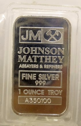 Johnson Matthey .999 Fine Silver 1oz. Bar