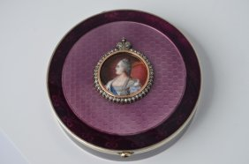 Karl Faberge Antique 84 Silver Round Box W/two-tone