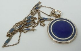 Antique Solid 9k Yellow Gold & Guilloche Enamel