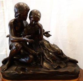 Alexandre Falguiere Bronze Sculpture Of A Loving French
