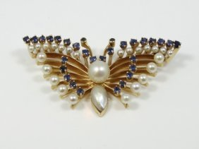 """Vintage Solid 14k Yellow Gold """"butterfly"""" Brooch"""