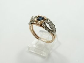 Antique Solid 14k Rose & White Gold Ring W/0.40ct