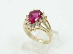 1.50ct Pear-cut Rubellite Tourmaline, 0.35ctw Genuine