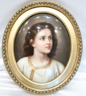 Kpm Handpainted Portrait In Enamel On Round Polychrome