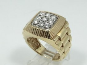 Solid 18k Yellow Gold Men's Ring W/0.90ctw Genuine
