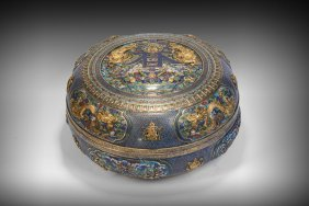 A Cloisonne Enamel Bronze Circular Box And Cover