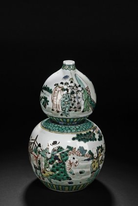 A Doucai Glazed Figures Double Gourd Vase