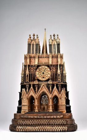 A French 'reims' Cathedral Ormolu Bronze Clock