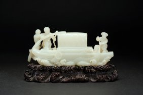 A White Jade Carved 'figures And Boat' Group