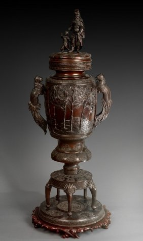 A Very Large Japanese Cast Bronze Censer
