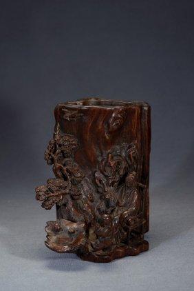 An Agarwood 'figures Under Pine Tree' Brushpot