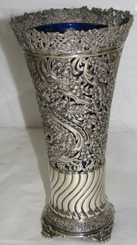TIFFANY STERLING SILVER VASE WITH COBALT LINER