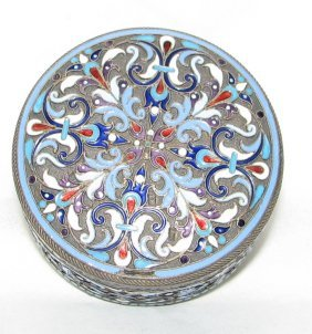 RUSSIAN ENAMELED SILVER  ROUND BOX