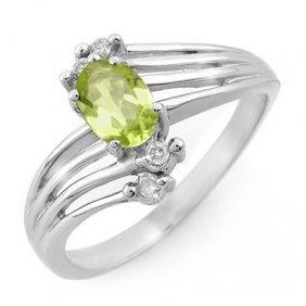 Genuine 0.55 Ctw Peridot & Diamond Ring 10K White Gold