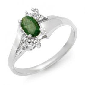 Genuine 0.62 Ctw Emerald & Diamond Ring 10K White Gold