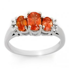Genuine 1.14ctw Orange Sapphire & Diamond Ring 10K Gold