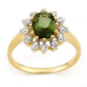 Genuine 1.62ctw Green Tourmaline & Diamond Ring Gold