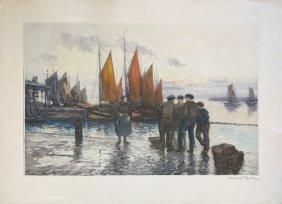 """Manuel Robbe """"harbor Scene"""""""