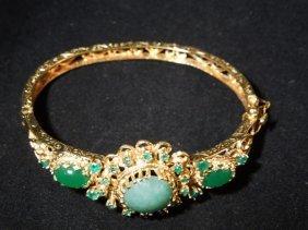 Emerald And Chrysoprase 14k Bracelet