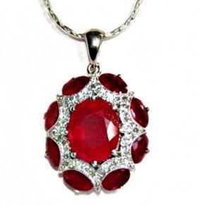 Natural Ruby Diamond Pendant 15.91ct 14k W/g