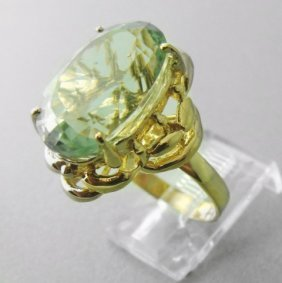 Green Amethyst Ring 10.23 Cara 14k Y/g