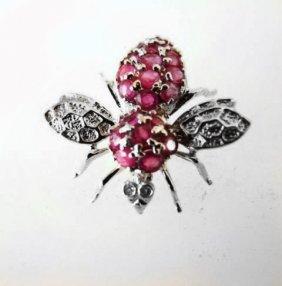 Bee Pins Ruby Diamond 1.25ct 14k W/g