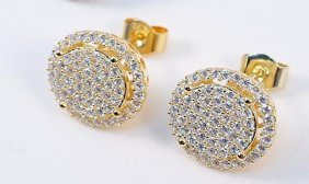Creation, Diamond Earrings 18k Y/w Gold Overlay