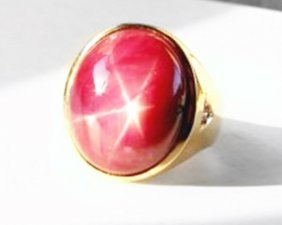 Star Ruby Cabochon/ Diamond Men Ring 29.84ct 14k Y/g
