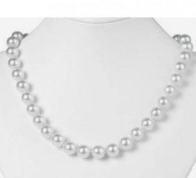 10 Mm Swarovski Pearl Necklace 14k W/g Gold/ Filled