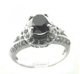 Black/white Diamond Ring 2.18ct 14k White Gold
