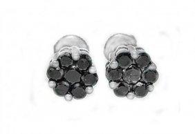 Invisible Black Diamond Stud Earring 1.12ct 14k W