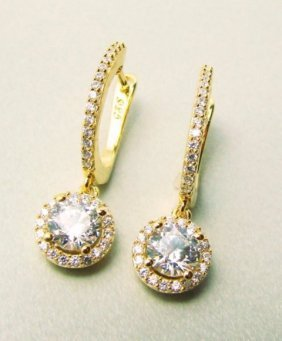Creation Dia: Dangle Earring 2.45ct 18ky/g Over