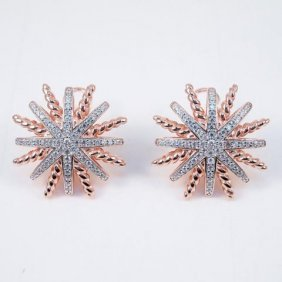 Creation Diamond Earrings 18k R/g Over 925
