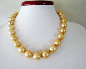 """Golden South Sea Pearl Graduation Necklace 17.5""""inch"""