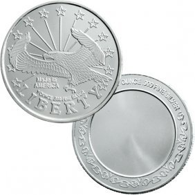 1 Oz Liberty Eagle Design Silver Round .999 Fine