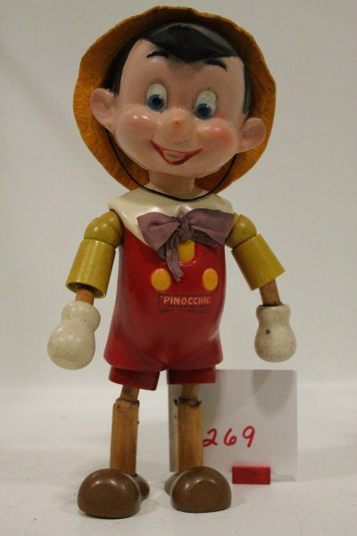 269 ideal novelty co wooden pinocchio doll lot 269