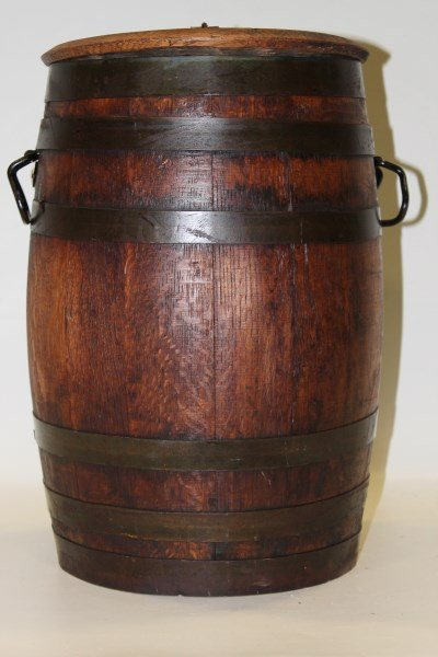 Country Store Oak 5 Gallon Pickle Barrel W Hinged Lid