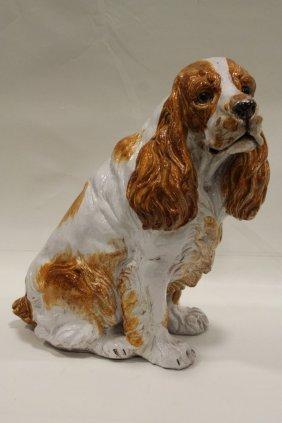 Terra Cotta Majolica Life-size Springer Spaniel Dog